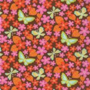 Moda Wrens and Friends - 2985 - Orange/Pink Floral and Butterflies on Brown - 10004-17 Cotton Fabric